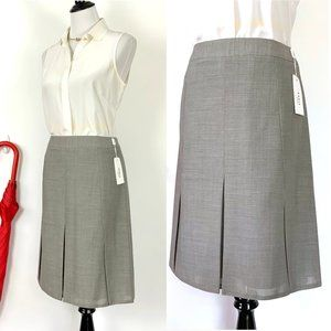Akris Punto A-Line Pleated Knee-High Skirt Sz 8